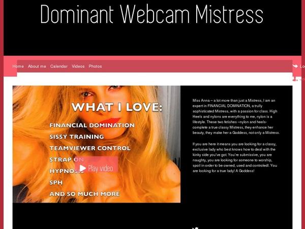 Dominant Webcam Mistress Login Information